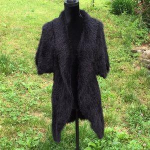 Lily Faux Fur Short Sleeve Black Vest